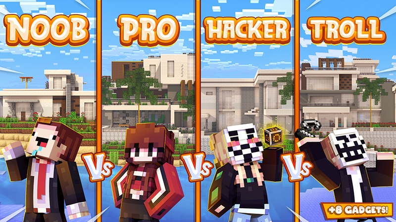 Noob Vs Pro Vs Hacker Vs Troll on the Minecraft Marketplace by Kubo Studios