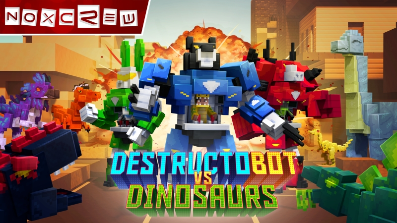 DestructoBot vs Dinosaurs on the Minecraft Marketplace by Noxcrew