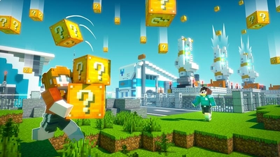 Falling Lucky Blocks on the Minecraft Marketplace by Cubed Creations